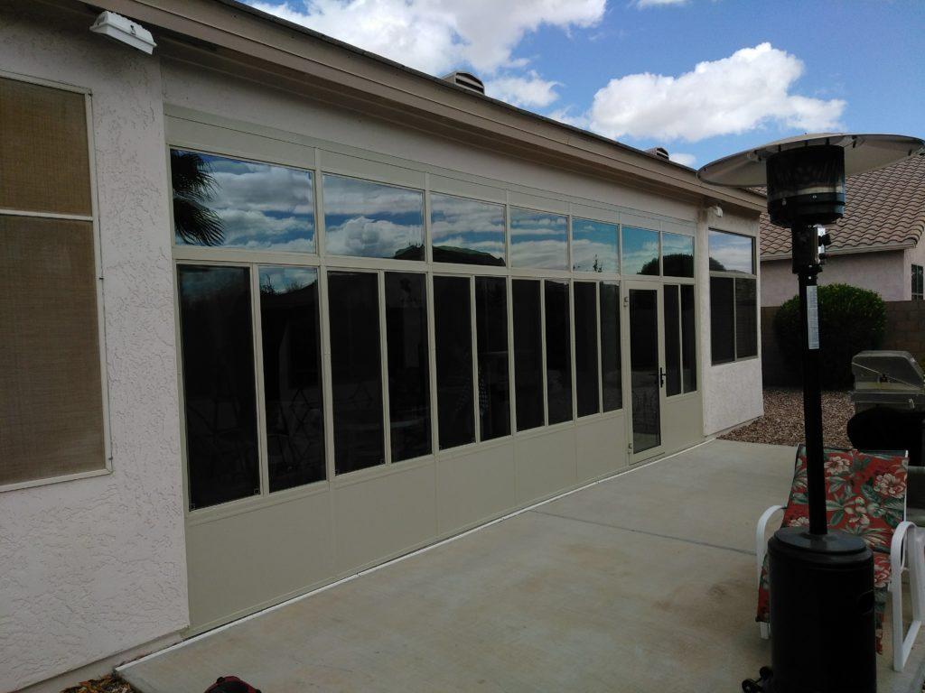 Sun Room with Top Transom Windows.